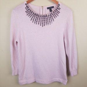 J.CREW Pink Crystals Wool Crew Neck Sweatshirt MD